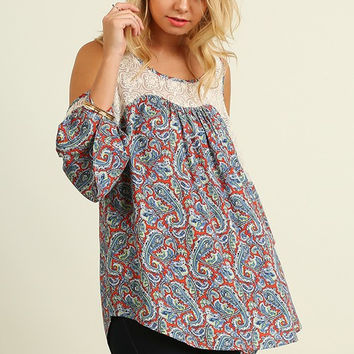 Paisley Open Shoulder Top - Coral/Dolphin Mix