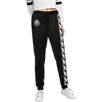 Long Chain Womens Black Track Pants