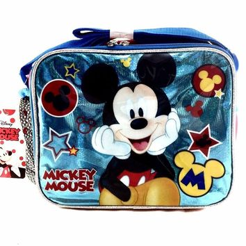 """Licensed New Disney Mickey Mouse Blue Shine School 9.5"""" Insulated Lunch Bag"""