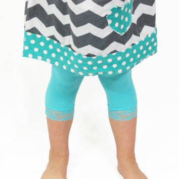 Teal Candy Colored Lace Leggings