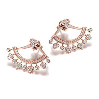 Wistic Sterling Silver Gold Plated Cuff Crystal Elegant Jacket Earrings for Women and Girls(Rose Gold)
