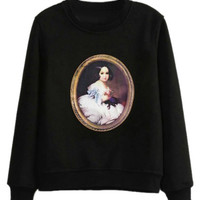 ROMWE Beauty Appliqued Black Sweatshirt