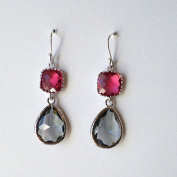Ruby and Charcoal Earrings - Chandelier Earrings - Silver Earrings - Ruby Earrings - Grey Earrings - Valentines Day