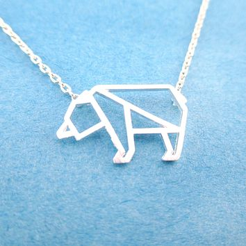 Polar Bear Outline Shaped Animal Charm Necklace in Silver | DOTOLY