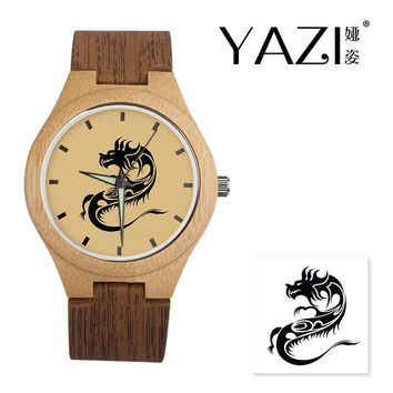 YAZI Unique Wooden Watch  Dragon Lucky Logo Quartz Watch Natural Bamboo Wood Case Wrist Watches Wood Stripe Band Gift For Friend