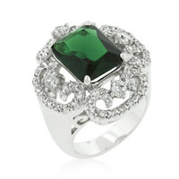 Coco Vintage Emerald Green Cocktail Statement Ring | 12ct | Cubic Zirconia