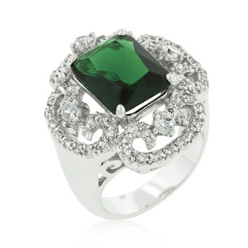 Coco Vintage Emerald Green Cocktail Statement Ring | 12ct | Cubic Zirconia | Silver