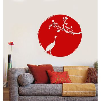 Vinyl Wall Decal Asian Style Japanese Bird Heron Sakura Branch Stickers (3210ig)