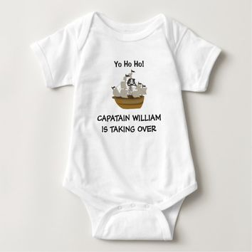Personalized Baby Captain Pirate Ship Baby Bodysuit
