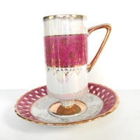Lusterware Teacup Tilso Pink Translucent White Gold Rim Scalloped Plate