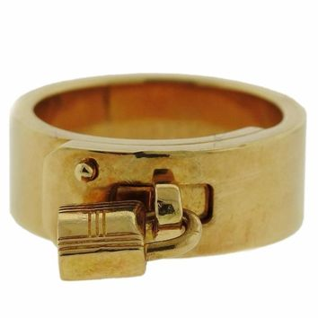 Hermes Gold Kelly Lock Charm Ring