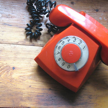 Vintage Red Rotary Phone - Made in USSR in 1976- Working condition - Collectible - Home Decor