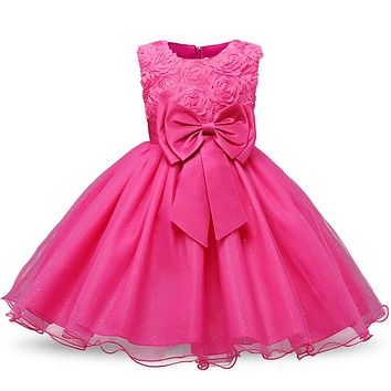 Fancy Kids Girls Evening Dresses Designs Lace Christening Gown Children's Kids Dresses In Girls Clothing School Prom Party Dress