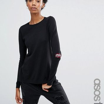 ASOS TALL Sweater with Halloween Fangs Elbow Patch at asos.com