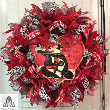 Valentine's Day Pepe Le Pew Love At First Sight Red/Black Ruffle Deco Mesh Wreath