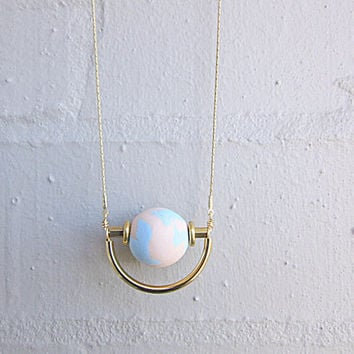 NL-214 Peach and Sky Blue Marble Vein Round Clay Bead with Brass Disc and Tube and Gold Curved Tube Pendant in 16K Gold Plated Brass Chain