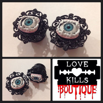 PICK SIZE Evil Eye Vampire Custom Plug earrings Rockabilly psychobilly pinup plugs Halloween