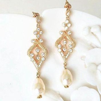 Crystal Chandelier Earrings | Art Deco Bridal Earrings | Pearl Drop Earring