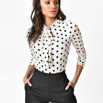 Ivory & Black Polka Dot Long Sleeve Blouse
