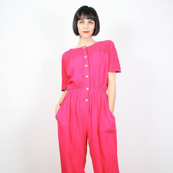 Vintage Jumpsuit Hot Pink Jumpsuit Wide Leg Pants Jumper Crochet Knit Netting Top Overalls Pants Romper Playsuit Bright Barbie Pink 80s M L