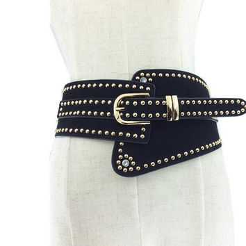 2016 Metal Rivet Wide Studs Beaded PU Leather Belts Pin Buckle women High Quality cummerbund strap belt waist female accessories