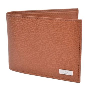 NEW GUCCI MEN'S 143384 TAN BROWN CALF LEATHER BIFOLD LOGO COIN POCKET WALLET | Overstock.com Shopping - The Best Deals on Men's Wallets