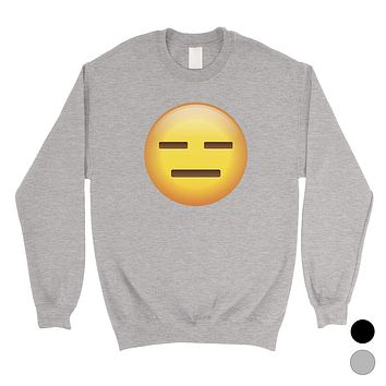 Emoji-Emotionless Unisex Crewneck Sweatshirt Empty Funny Halloween