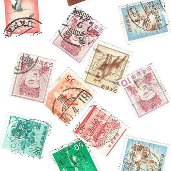 Vintage Japan Japanese Used Postage Stamps Supplies Scrapbook Art Card Zen Buddha Decoration Decoupage Journal World Travel DIY Paper Crafts