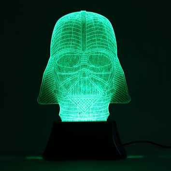 3D 6 LED Darth Vader Star Wars Night Light Color Changing Bedroom Table Lamp Home Decor