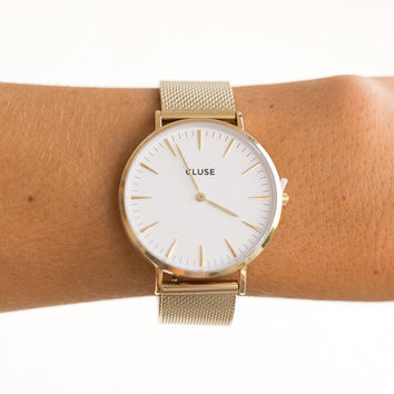La Boheme Mesh Gold/White Watch - CLUSE