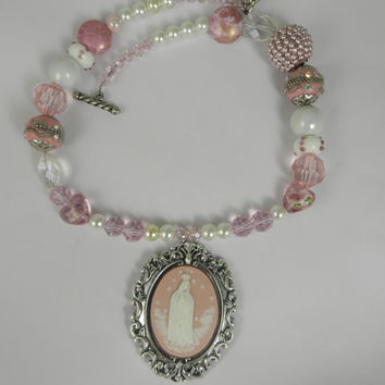Virgin Mary Cameo Beaded Pink Necklace Ornate Pendant Holy Mother Pearls Crystal Pink White Jewelry Christian Gift