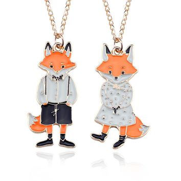 Lovely Cartoon Miss Fox Mr. Fox Couple Necklace Pendants Enamel Metal Animal Statement Necklaces For Men Women Lovers Jewelry