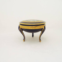 Limoges Tharaud Trinket Box, Limoges Cobalt Blue Powder Jar, Limoges Footed Trinket Box
