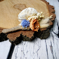Ivory orange lavender rustic autumn fall harvest wedding BOUTONNIERE, wheat oat, grain, grass, dried, sola flower burlap, groom