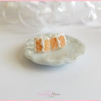 Scented Polymer clay miniature peaches and cream cake slice earrings. food jewelry