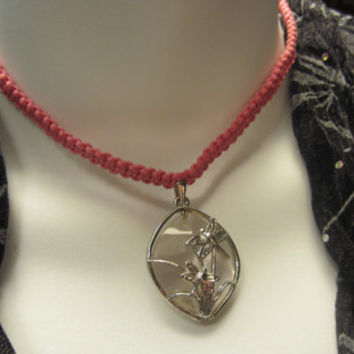 Shamballa Necklace Pink and Silver Dragonfly