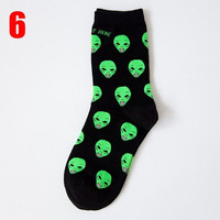 New Aliens Green on Black Cartoon Socks