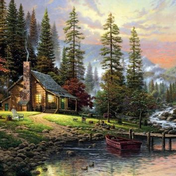 Frameless diy painting by numbers paint by number for home decor picture oil painting for living room 4050 mountain stream