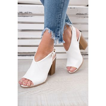 Would You Peep Toe Booties (White)
