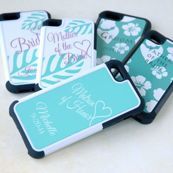 Five Matching Personalized Phone Cases for Wedding Party - Bride Groom Parents Mother Father of the Bride Maid Matron of Honor Beach Wedding