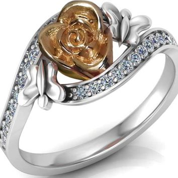 Twist Floral Ring 2 Tone Rose Promise Ring Unique Engagement Ring Rose White gold Side Diamonds Floral ring Birthday for Her Christmas Gift
