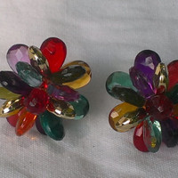 1980's Fruit Salad Rainbow Plastic Bead Clip Earrings Gay Pride Drag Queen Skittles Retro Light Weight Chunky Summer Fashion Jewelry