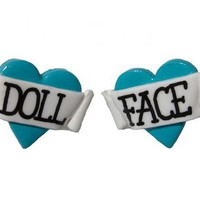 Doll Face Heart Stud Earrings by Bete Noire Jewellery