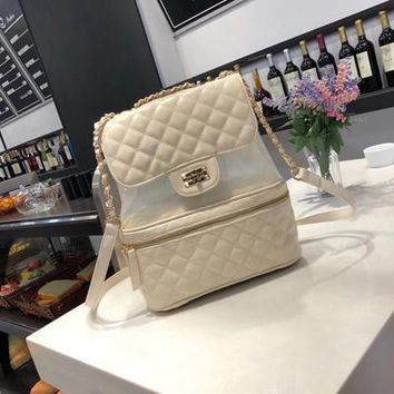 University College Backpack PVC transparent  chain bag  new pattern ing  Trendy female stars with shoulder bagAT_63_4