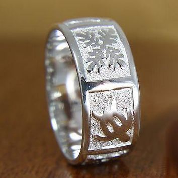 8MM STERLING SILVER 925 HAWAIIAN HONU TURTLE & QUILT BAND RING