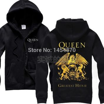 2 colours Britain Queen Band Cotton Zipper Sweatshirt fleece Rock Hoodies Winter jacket sudadera punk heavy metal lion eagle