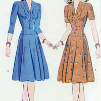 1940s Inspired Dress Sewing Pattern Reissued of 1942 Butterick 6239 Sz 8, 10, 12