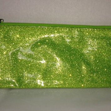 Monogrammed Lime Green Glitter Pencil Case - Pencil Bag - Monogrammed Bag - Personalized Pouch - Customized Pencil Bag  -Green - Glitter