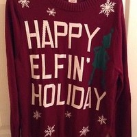 Men's Mossimo Sweater Cosby Ugly Christmas Happy Elfin' Holiday Funny Sz Large
