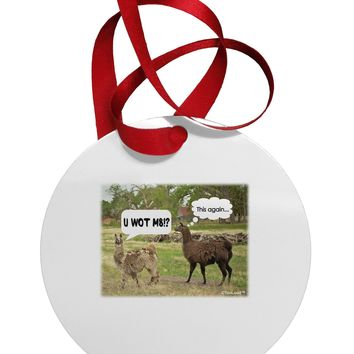 Angry Standing Llamas Circular Metal Ornament by TooLoud